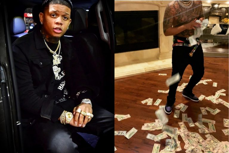 American Rapper, Yella Beezy Sprays $100 Notes While Dancing To Burna Boy's 'Ye'