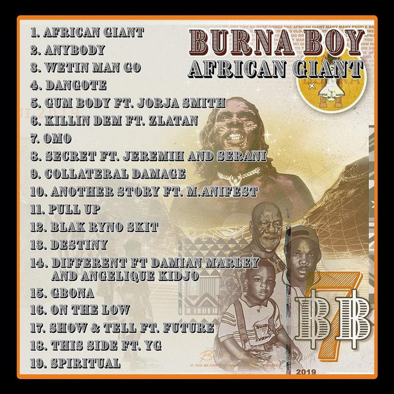Burna Boy Reveals Album Track List – Features Top Acts Like Damian Marley And Angelique Kidjo