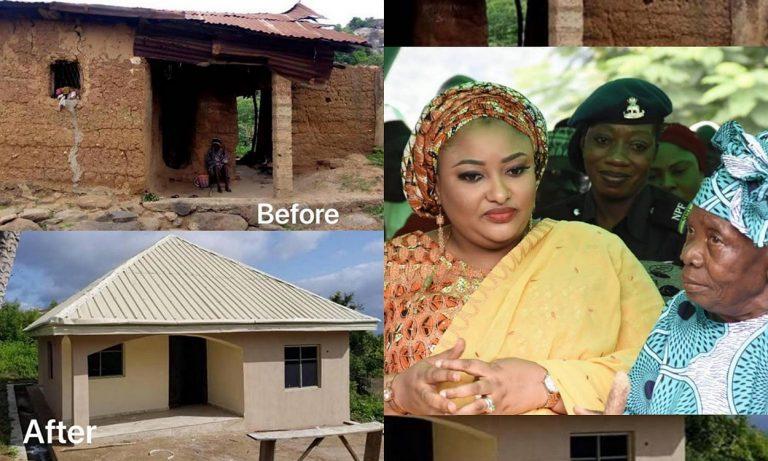Mrs Rashida Bello, wife of Kogi State Governor builds house for an elderly woman