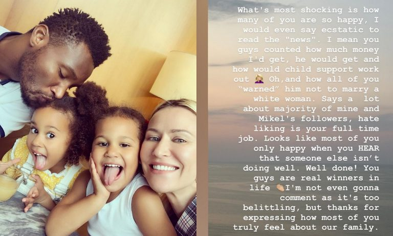 Hate is your full time job, I feel so shocked – Mikel's wife Olga debunks split rumour