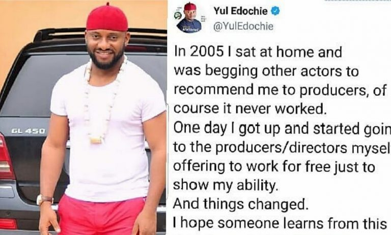 Nollywood actor, Yul Edochie shared a post, says no one helped him early in his career, fans react