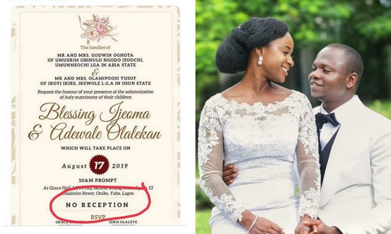"Wedding with ""No Reception"", Groom explains why"