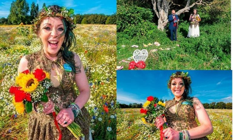 Lady marries a tree in front of family and friends