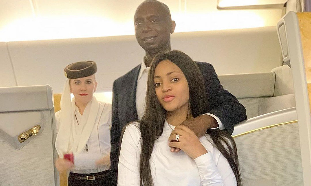 Regina Daniels and hubby cuddle in their private jet