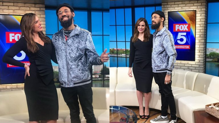 Big moves for music star Phyno as he's seen in Washington DC with FOX's Erine Como