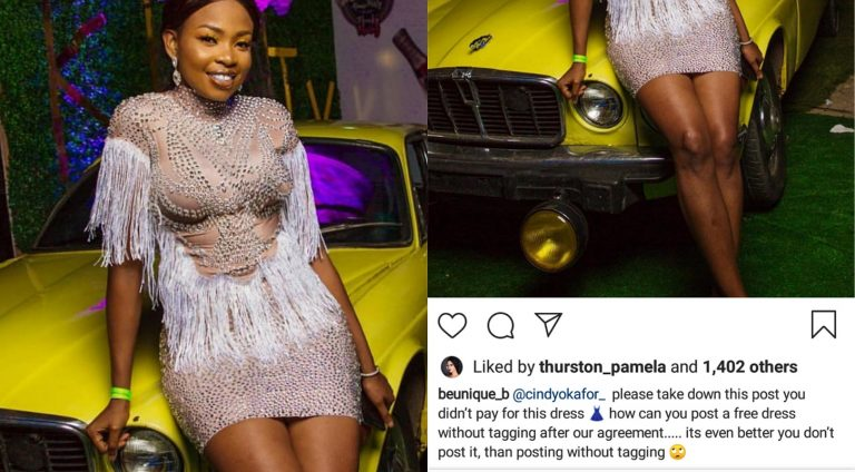 Boutique owner calls out BBNaija's Cindy for posing with a dress she didn't pay for
