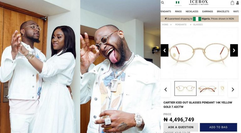 Davido shares photos of him, Chioma and N4.4m eye glasses