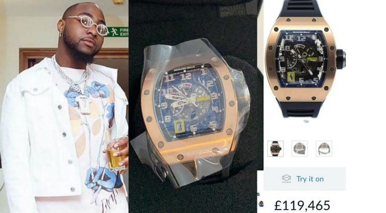 When we thought Davido's eye glasses is costly, we didn't know he bought a watch worth N55m