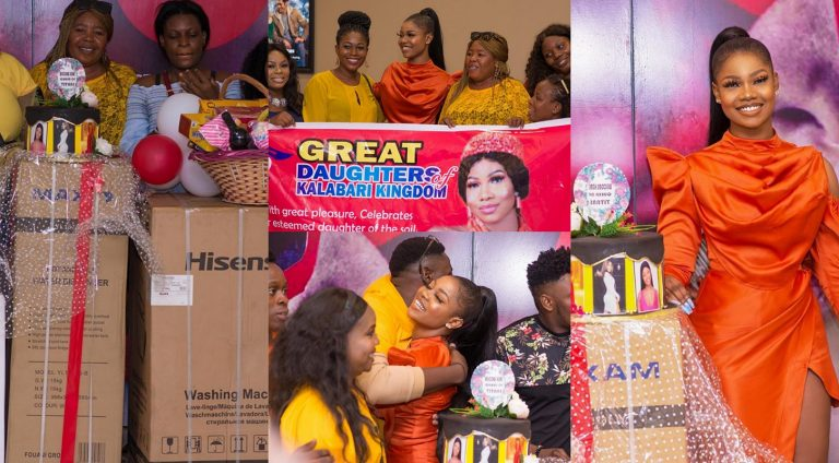 Daughters of Kalabari Kingdom surprised Tacha with lots of gift items during her PH homecoming