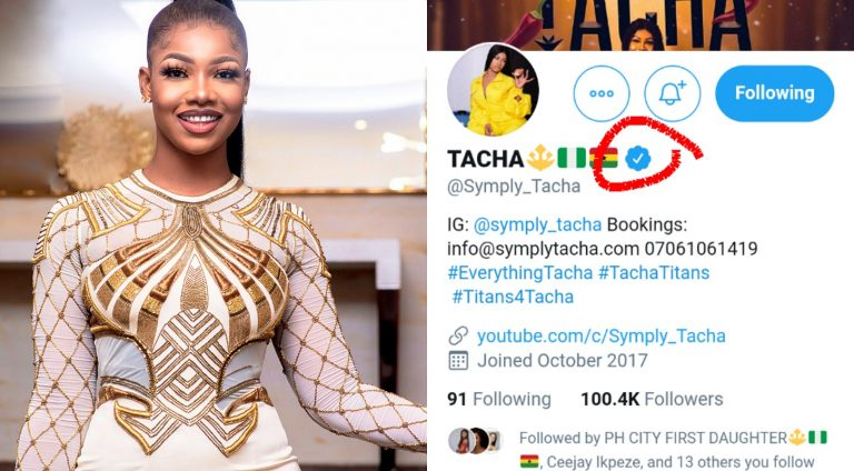 48hours after Twitter founder Jack Dorsey followed Tacha on the platform, she has been verified
