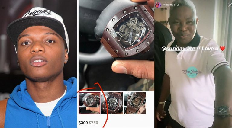 Wizkid buys fake Richard Mille Watch for his manager, Sunday Are – Critics reveal