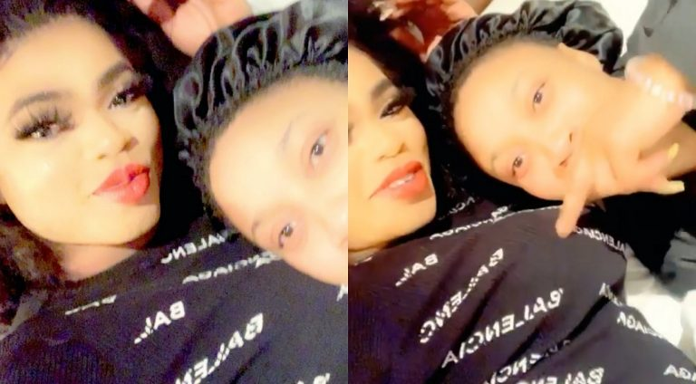 Tonto Dikeh spotted in a video touching her bestie Bobrisky's boobs