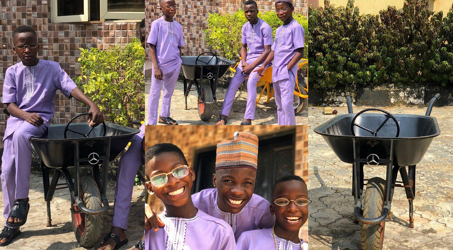 Popular comedy group, Ikorodu Bois show off their 'Benz' and stunning attires