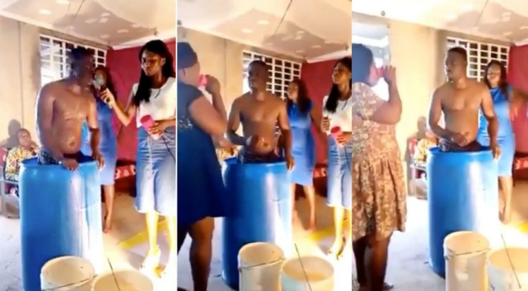 Ghanaian pastor serves church members his bath water after bathing inside a drum (video)