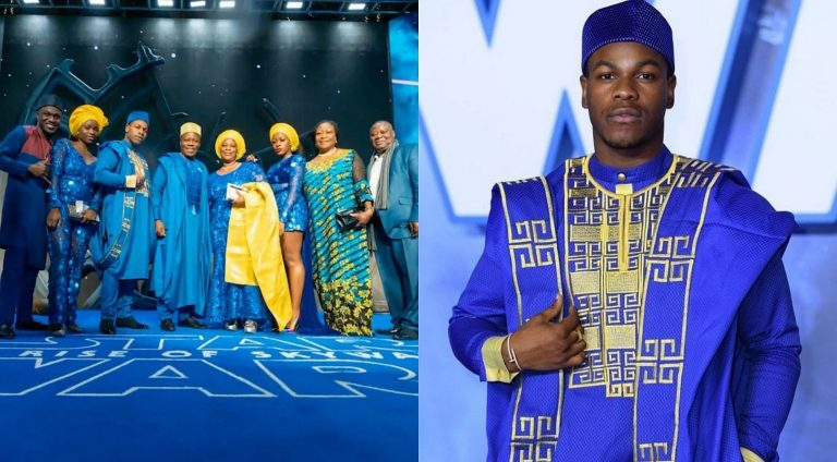 Hollywood actor, John Boyega has all his family dressed in Agbada at Star Wars premiere