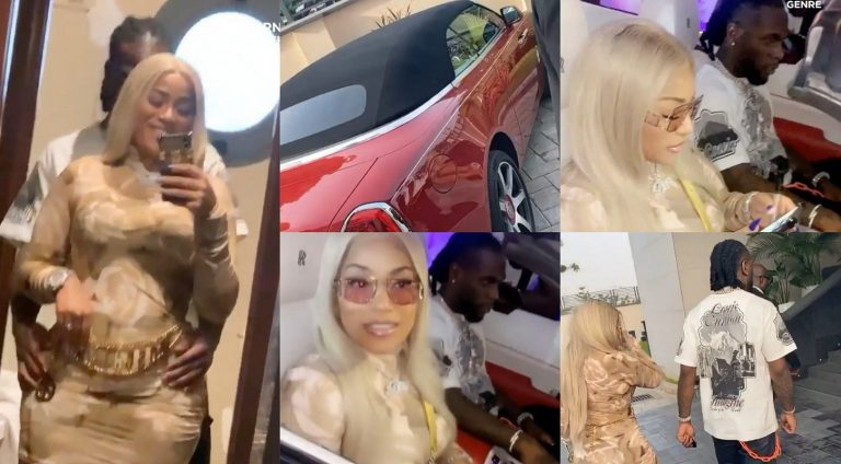 Burna Boy takes his bae, Stefflon Don around Lagos in his new Rolls Royce