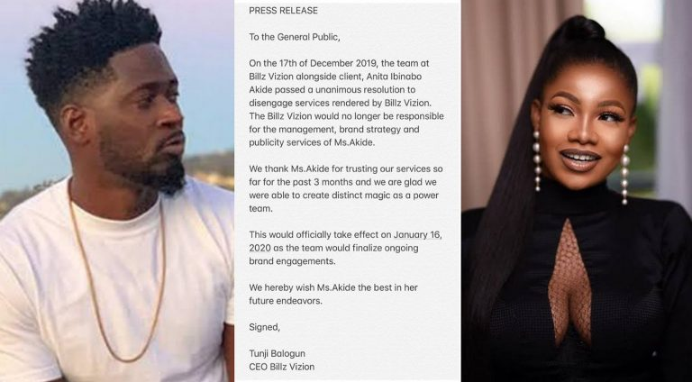 Tee Billz releases statement on Tacha's dissolution of contract with Billz Vision