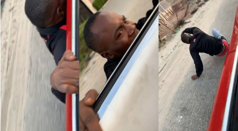 Desperate lad insists on getting money from Burna Boy's girlfriend, Stefflon Don by hanging on her car door