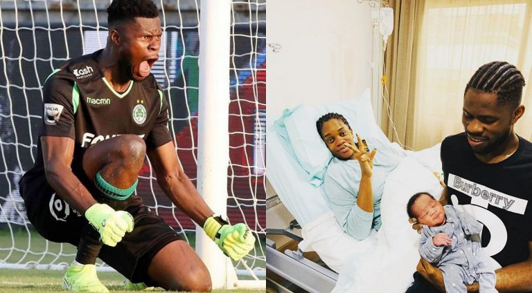 Super Eagles goalkeeper, Francis Uzoho welcomes first son with wife, Soomie
