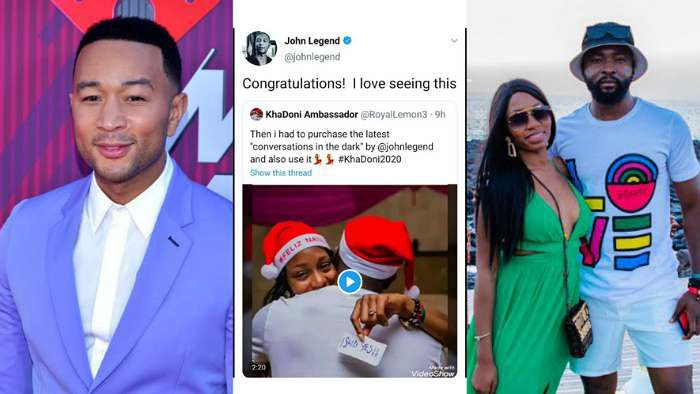 American singer, John Legend congratulates Khafi and Gedoni on their engagement