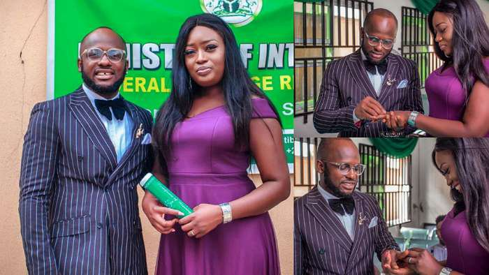 Comedian, I Go Save legally ties the knot with his bae, Iyabo in a court marriage