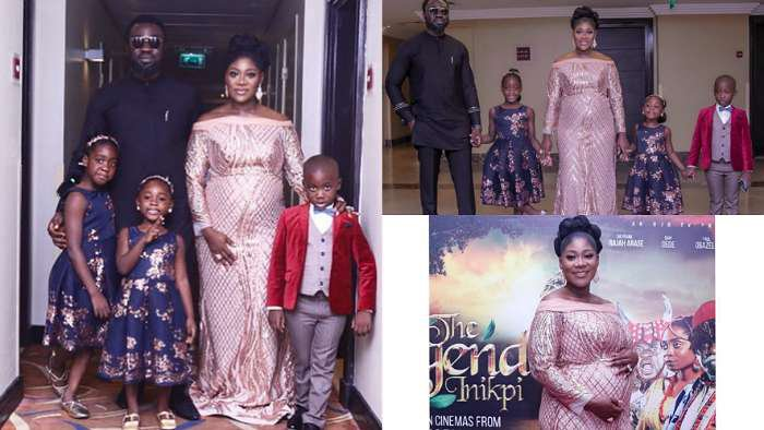 Actress, Mercy Johnson and family at her movie, 'The Legend of Inikpi' premiere