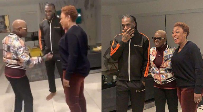 Music star, Burna Boy and mom, Bose Ogulu meet legendary Beninese singer, Angelique Kidjo