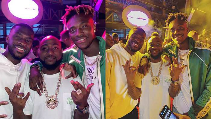 Now we realize Davido is a die-hard Chelsea FC fan. See photos he took with footballers, Tomori and Abraham