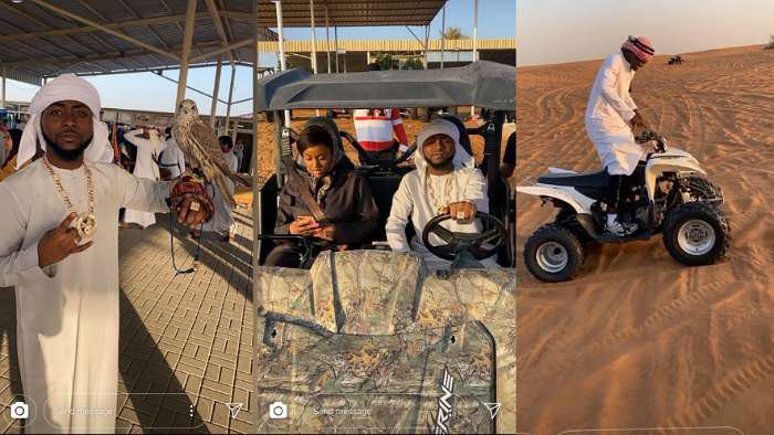 A look at Davido's exclusive cruise in Dubai desert with fiancee Chioma, son Ifeanyi and DMW crew