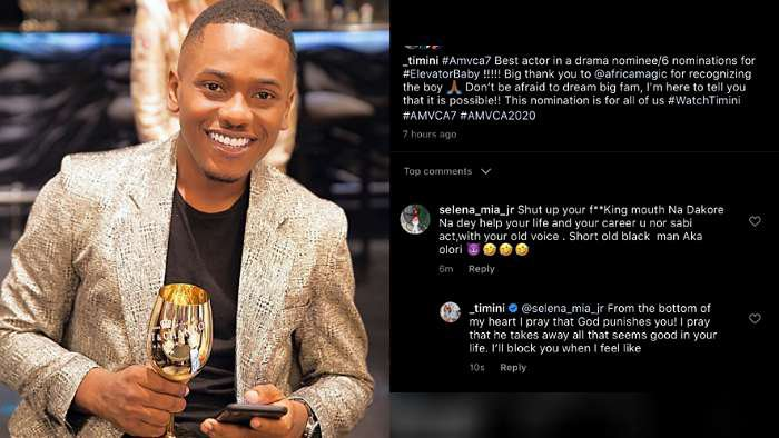 Actor, Timini Egbuson exposes lady craving for his attention in the DM but insults him in the comment section