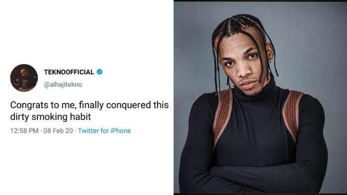 Singer, Tekno congratulates himself for finally conquering dirty smoking habit