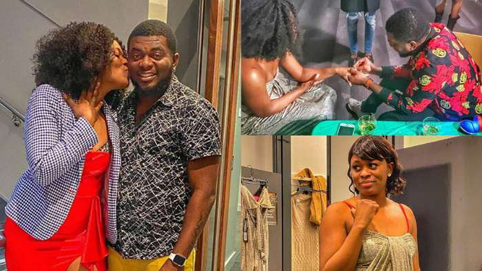Singer, Kelly Hansome smiles as his girlfriend accepts to marry him