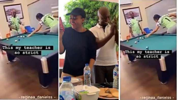 Ned Nwoko spotted teaching his bae, Regina Daniels to play snooker