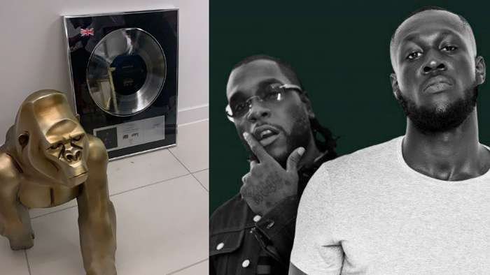 """Burna Boy receives platinum plaque for taking part in Stormzy's 2019 song, """"Own It"""" which has over 600k sales"""
