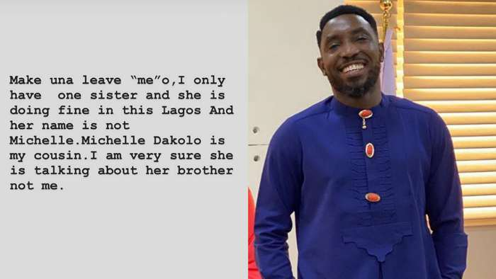 Singer, Timi Dakolo clears air, says Michelle is his cousin and must have been her own brother who refuses to give her money