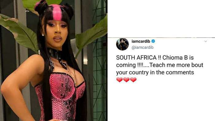 South Africans react after Cardi B says she's coming to the country as Chioma B