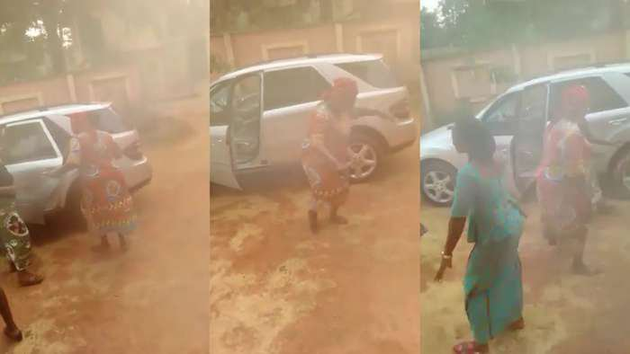 Mom invites her village women to merry with her after her U.S based daughter surprised her with Benz (video)