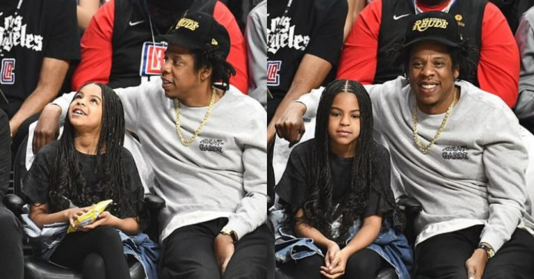 Adorable moment Jay-Z and daughter, Blue Ivy were spotted watching a basketball game together (photos)