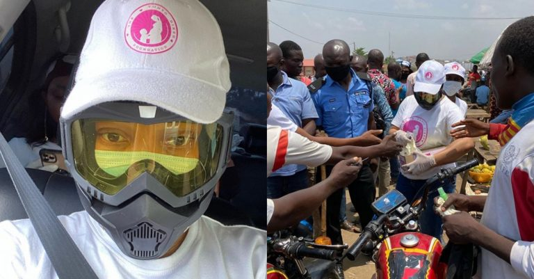 Covid-19: Tonto Dikeh gives out face masks, gloves, sanitizers and other relief materials