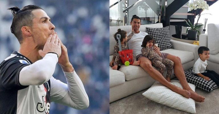 Covid-19: C.Ronaldo now has time for his family, shares lovely photo of his children