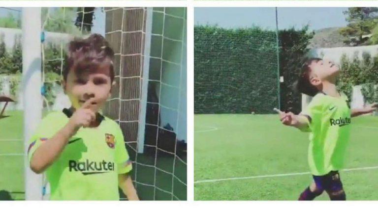 Mateo Messi celebrates like father, Lionel
