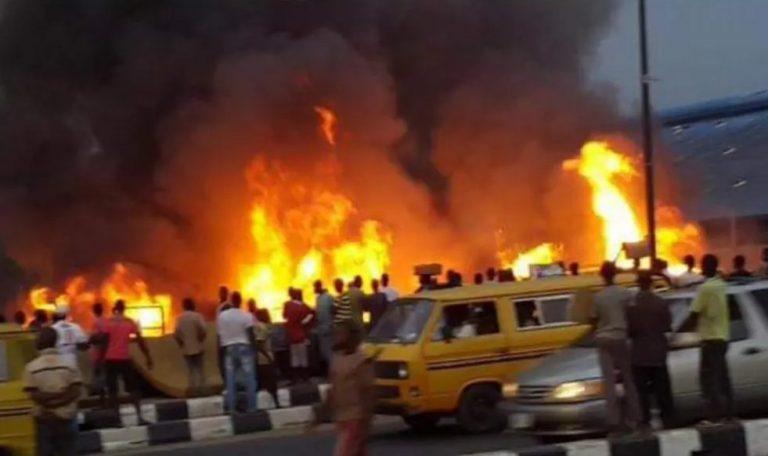 Agboju on fire, close to Festac, Amuwo Odofin Local Government, Lagos State