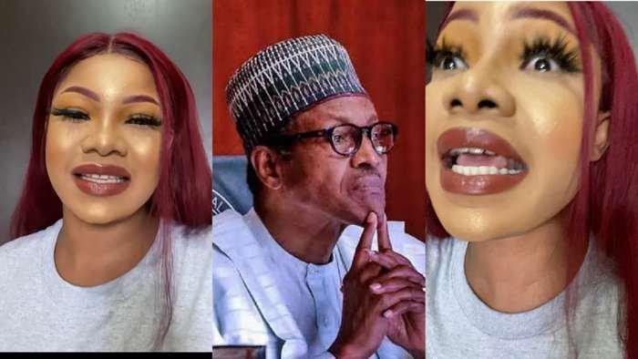BBNaija's Tacha blasts Buhari, tells him to stop addressing Nigerians only on Twitter (video)