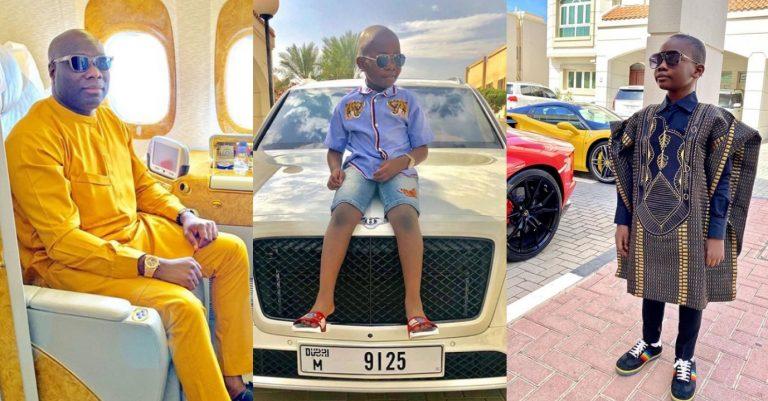 Nigerian Dubai based billionaire, Mompha celebrates his son, Awal on his 8th birthday