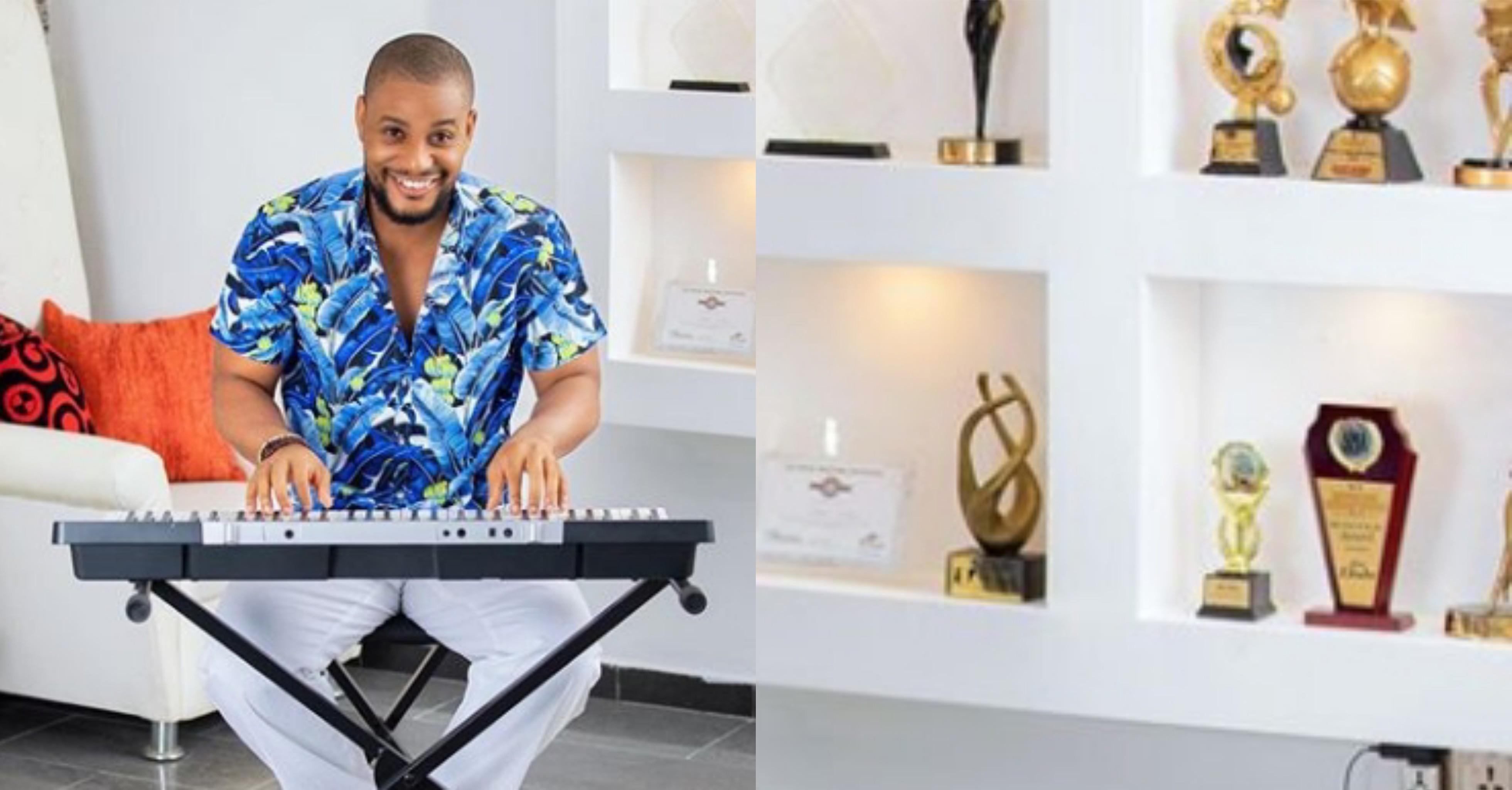 Multi award winning actor, Alexx Ekubo puts his Trophy shelves on display and it's mind-blowing