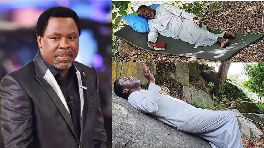 Prophet T.B. Joshua threatens Covid-19 as he goes praying on top mountain (video)