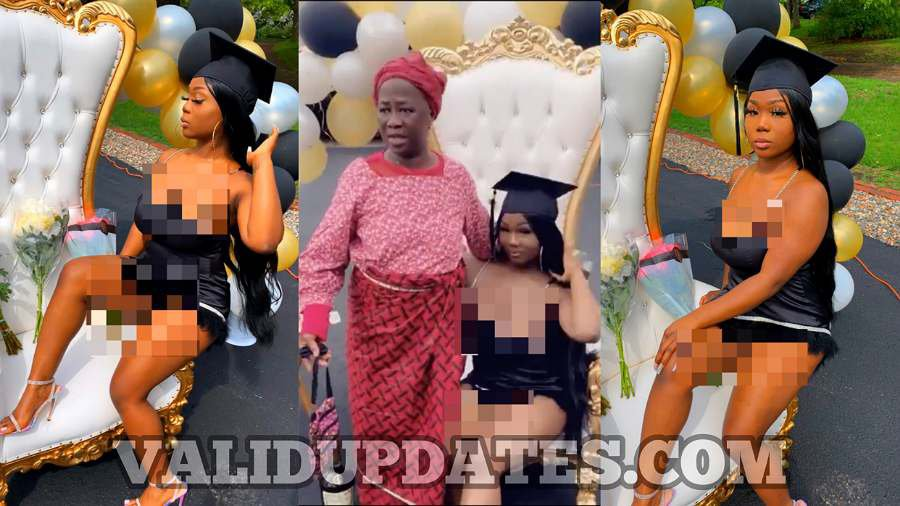 Internet users react to Liberian lady's daring outfit on her graduation day