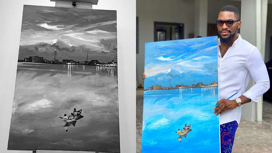 BBNaija's Tobi Bakre returns back to painting career, shows off his new work