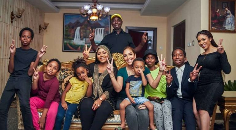 Regina Daniels' husband Ned Nwoko shares beautiful photos of his 7 kids and wives