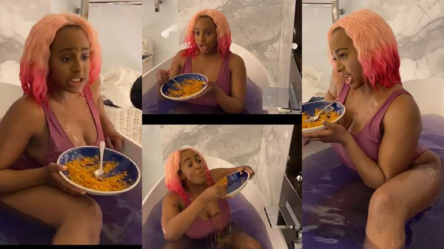 Dj Cuppy shoots music video in her bathroom with plate of Jollof rice (watch)